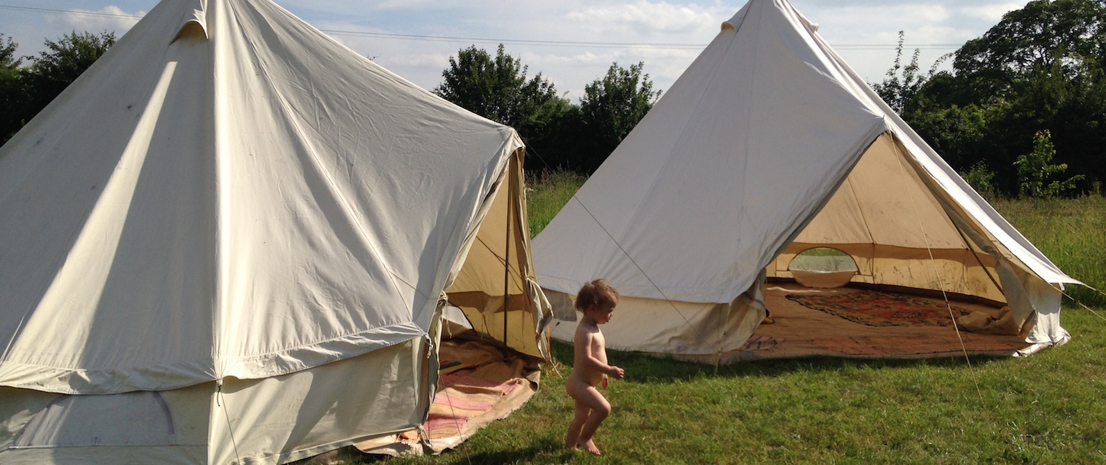 By the bell tent